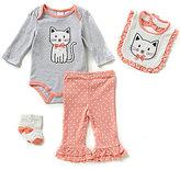 Starting Out Baby Girls Newborn-9 Months Ruffled Cat 4-Piece Layette Set