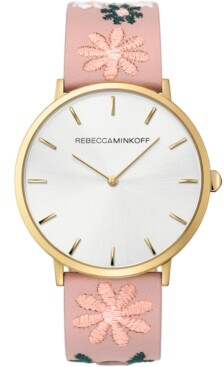 Rebecca Minkoff Women's Major Floral Embroidered Blush Leather Strap Watch 40mm