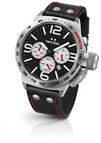 TW Steel Canteen Leather Unisex Quartz Watch with Black Dial Chronograph Display and Black Leather Strap CS7