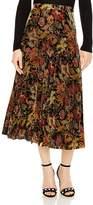 Sandro Ellen Pleated Velvet Floral-Print Midi Skirt