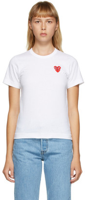 Comme des Garcons White Layered Heart T-Shirt