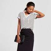 Merona Women's Striped Short Sleeve Lace-Up T-Shirt