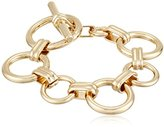 """Anne Klein Metal Meaning"""" Gold-Tone Open Circle Toggle Flex Bracelet, 8"""""""