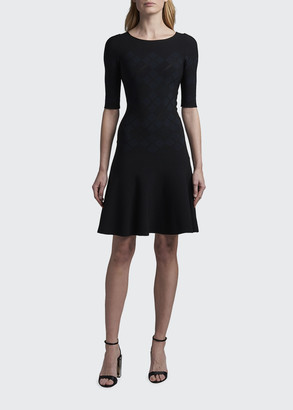 Giorgio Armani Argyle Jacquard Elbow-Sleeve Fit-and-Flare Dress