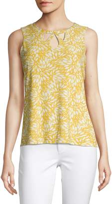 Kasper Suits Sleeveless Cut Out Front Leaf Top