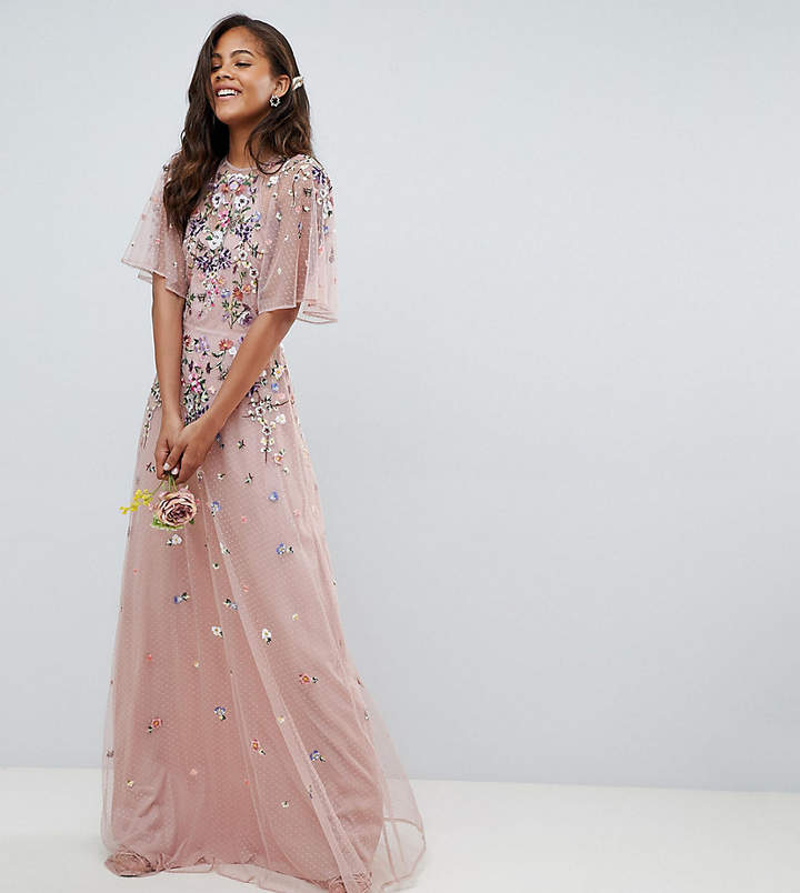 Asos Tall DESIGN Tall floral embroidered dobby mesh flutter sleeve maxi dress