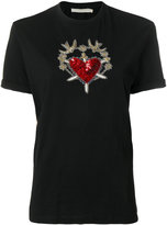 Amen embellished heart and dagger T-shirt