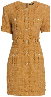 Balmain Short-Sleeve Tweed Button Dress