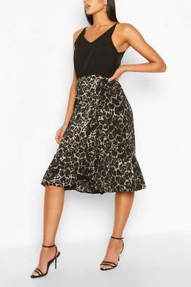 boohoo Leopard Print Midi Dress