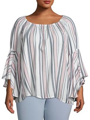 Fever Plus Stripe Bell-Sleeve Top