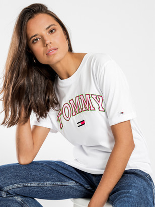 Tommy Hilfiger Neon Collegiate T-Shirt in Classic White