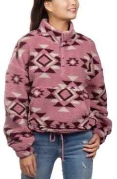 Hippie Rose Juniors' Printed Sherpa Quarter-Zip Top