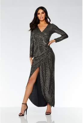 Quiz Black and Gold Sequin Wrap Maxi Dress