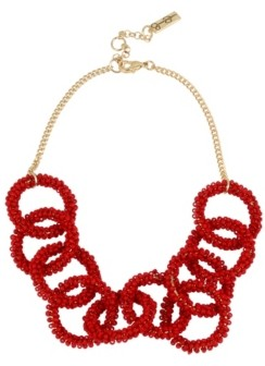 Jessica Simpson Woven Beaded Gold-Tone Circle Necklace