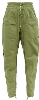 Etoile Isabel Marant Lecia Tapered Cotton Canvas Utility Trousers - Womens - Khaki