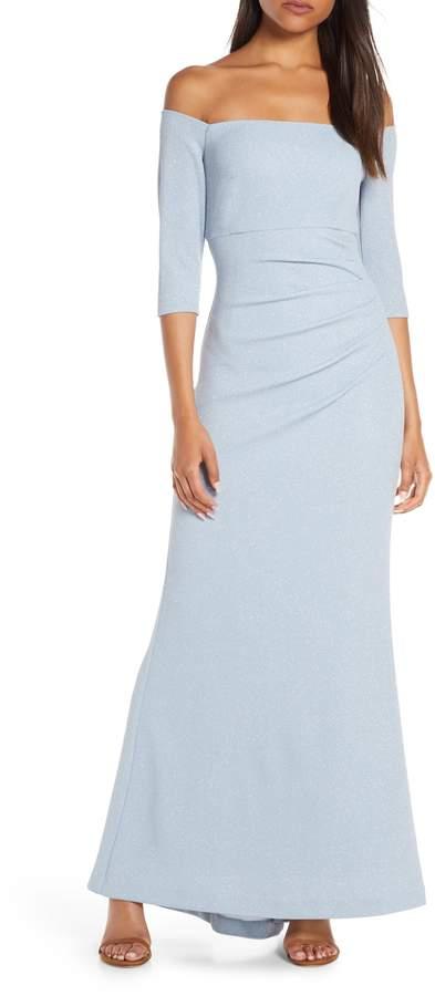 Eliza J Off the Shoulder Glitter Gown