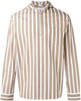 Cmmn Swdn hooded striped shirt - men - Cotton - 46
