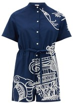 Kilometre Paris - Villa Santo Sospir Embroidered Cotton Playsuit - Womens - Navy Print