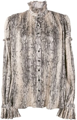 Wandering Snakeskin-Print Pleated Blouse