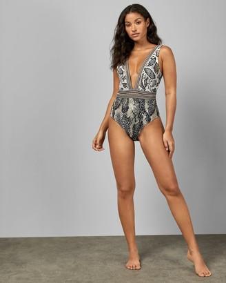 Ted Baker Quartz Print Deep V Swimsuit