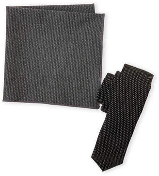 Original Penguin Black Ramsey Tie & Pocket Square Set