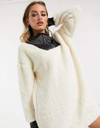 Asos DESIGN teddy fleece zip neck dress