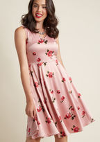 ModCloth Sleeveless Satin Floral Fit and Flare Dress in 2X - A-line Knee Length