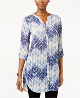 JM Collection Zigzag-Print Roll-Tab Tunic, Only at Macy's