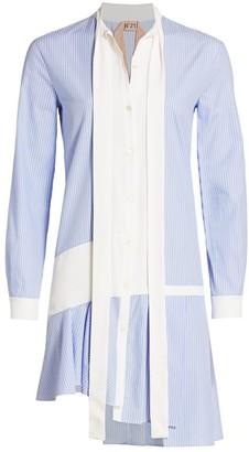 No.21 No. 21 Stripe Tie Neck Mini Shirtdress