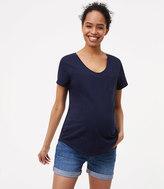 LOFT Maternity Denim Roll Shorts in Medium Stonewash