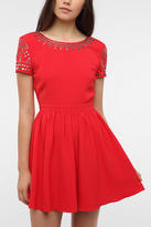 Urban Outfitters Staring At Stars Crepe Studded Shoulder Dress