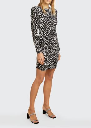 LES COYOTES DE PARIS Nadine Floral Strong-Shoulder Dress