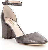 Louise et Cie Idina Metallic Block Heel Ankle Strap Pumps