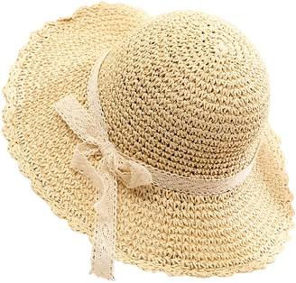 Petalum Women Straw Hat Bowknot Wide Brim Beach Summer Sun Hat Beige