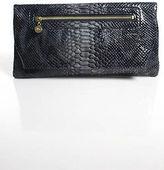 Abas Gray Black Embossed Patent Leather Foldover Clutch Handbag