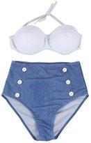 Your Gallery Retro Sexy High Waist Pin up Bikini Sets Polka Top+denim Bottom L