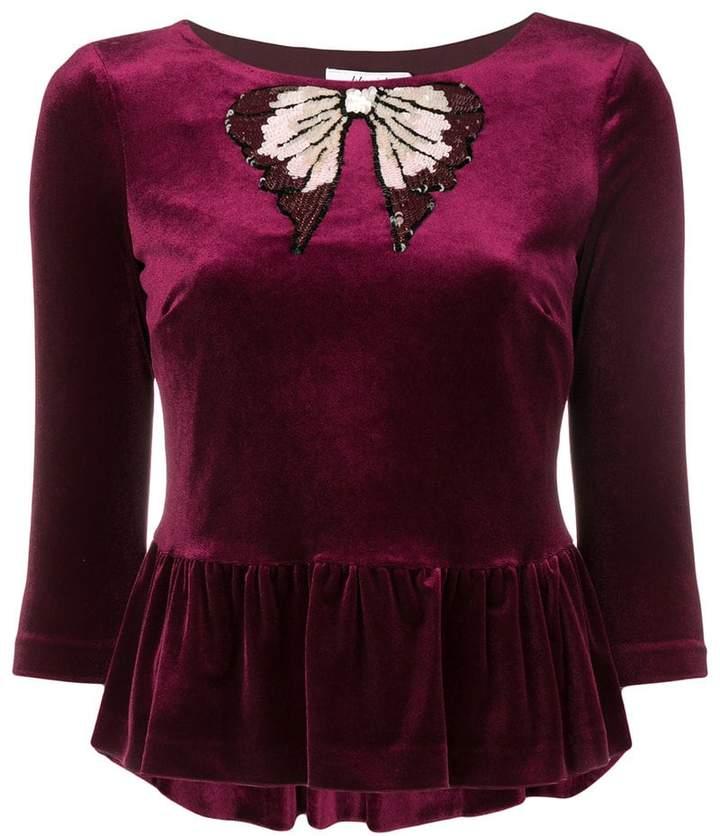 Blugirl sequinned bow velvet top