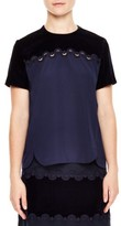 Sandro Women's Velvet Yoke Top