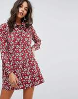 Glamorous Long Sleeve Shirt Dress In Vintage Floral