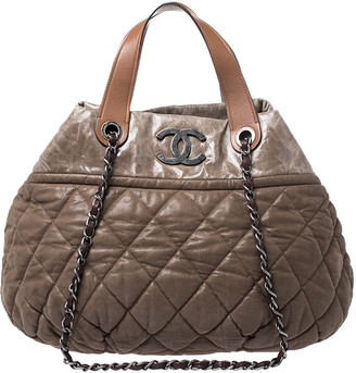 Chanel Brown Metallic Leather In The Mix Tote