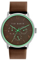 Ted Baker Multifunction Leather Strap Watch, 42mm
