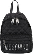 Moschino quilted logo backpack - women - Leather/Polyester/metal - One Size