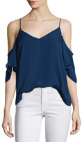 Haute Hippie Silk Button-Back Cold-Shoulder Blouse, Midnight