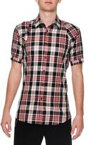 Alexander McQueen Plaid Short-Sleeve Harness Shirt, Black/Red