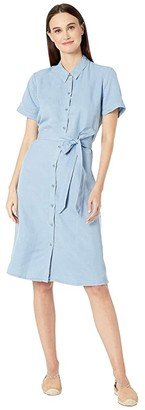 Eileen Fisher Tencel Linen Classic Collar Short Sleeve Dress w/ Belt (Haze) Women's Dress