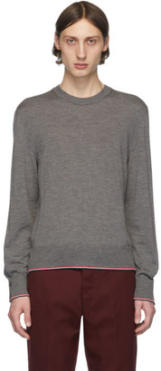 Thom Browne Grey Cashmere Classic Crewneck Pullover