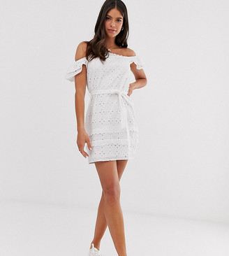 Parisian Tall off shoulder white dress in broderie anglaise