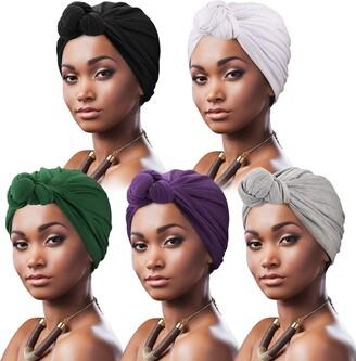 DRESHOW 5 Pack Women Turban African Pattern Knot Headwrap Beanie Pre-Tied Bonnet Chemo Cap Hair Loss Hat