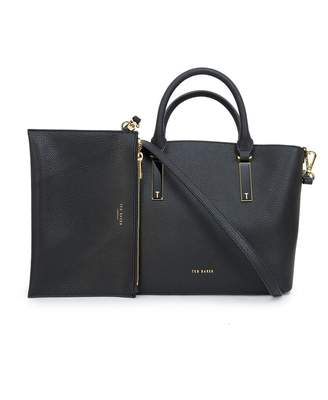 Ted Baker Soft Leather Small Tote Bag Colour: BLACK, Size: One Size