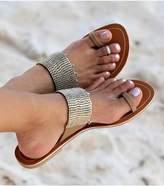 Aspiga Luna Gold Beaded Toe Loop Leather Sandals
